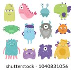 cute monsters set hand drawn... | Shutterstock .eps vector #1040831056