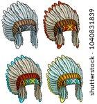 cartoon colorful native... | Shutterstock .eps vector #1040831839