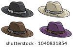 cartoon old mafia retro hat... | Shutterstock .eps vector #1040831854
