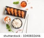 deep fried chicken wing plate... | Shutterstock . vector #1040832646