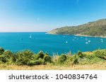 view on nai harn bay with lots... | Shutterstock . vector #1040834764