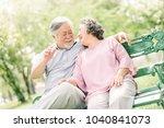happy asian senior couple... | Shutterstock . vector #1040841073