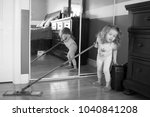 black and white photo of little ...   Shutterstock . vector #1040841208