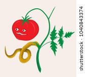 vector predatory tomato mutant... | Shutterstock .eps vector #1040843374