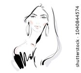 beautiful fashion woman vector... | Shutterstock .eps vector #1040844574