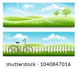 two nature meadow banners with... | Shutterstock .eps vector #1040847016