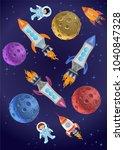 astronaut kids on the rocket in ... | Shutterstock . vector #1040847328