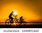 empty space. sporty friends on... | Shutterstock . vector #1040851660