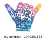 colorful shaka hand symbol with ... | Shutterstock .eps vector #1040851993