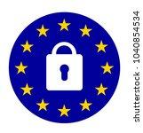 lock symbol with european union ... | Shutterstock . vector #1040854534