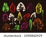 vector branches and leaves.hand ... | Shutterstock .eps vector #1040860429