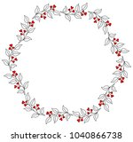 round wreath with brunches and... | Shutterstock .eps vector #1040866738
