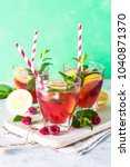 raspberry lemonade.  iced... | Shutterstock . vector #1040871370