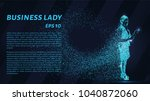 business woman of the particles.... | Shutterstock .eps vector #1040872060