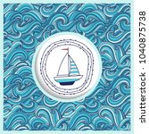background with waves and yacht.... | Shutterstock .eps vector #1040875738