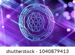 neon glowing qtum coin in ultra ... | Shutterstock . vector #1040879413