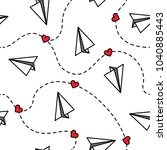 paper planes seamless pattern... | Shutterstock .eps vector #1040885443