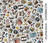 cartoon cute hand drawn cinema... | Shutterstock .eps vector #1040886154