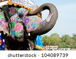 a painted elephant at the... | Shutterstock . vector #104089739
