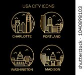 usa city icons. vector... | Shutterstock .eps vector #1040898103