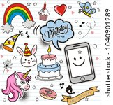 set of colorful doodle on paper ... | Shutterstock .eps vector #1040901289