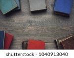 old vintage books border with... | Shutterstock . vector #1040913040