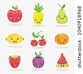 cute fruits collection | Shutterstock .eps vector #1040918968