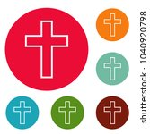 Catholic Cross Icons Circle Se...