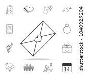 envelope with love letter icon. ... | Shutterstock .eps vector #1040929204