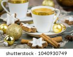 two stylish cups of coffee with ... | Shutterstock . vector #1040930749