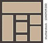 vintage postage stamp set.... | Shutterstock .eps vector #1040939200