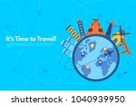it s time to travel.trip to... | Shutterstock .eps vector #1040939950