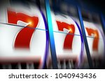 Triple Seven Lucky Slot Machine Game in Motion. Casino Concept Illustration 3D Rendered. - stock photo