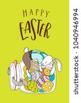 happy easter greeting card.... | Shutterstock .eps vector #1040946994