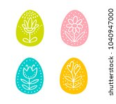 colorful easter eggs hand drawn ... | Shutterstock .eps vector #1040947000