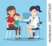 doctor examining listens to... | Shutterstock .eps vector #1040971633