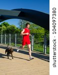 Sportsman And Dog Running...