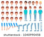 set of man faces  body parts ... | Shutterstock .eps vector #1040990458