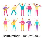 birthday party set of people... | Shutterstock .eps vector #1040990503