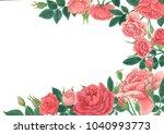 rose flower ornamental garden... | Shutterstock . vector #1040993773