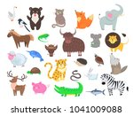 cute wild and domestic animals... | Shutterstock .eps vector #1041009088
