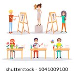 boy and girl drawing still life ... | Shutterstock .eps vector #1041009100
