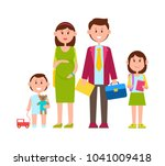 family poster  parents and kids ... | Shutterstock .eps vector #1041009418