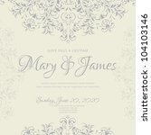 wedding card or invitation with ... | Shutterstock .eps vector #104103146