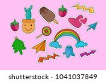 cute doodle icon set for child | Shutterstock .eps vector #1041037849