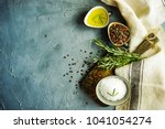 organic food concept with herbs ... | Shutterstock . vector #1041054274