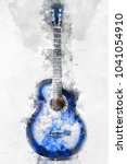 abstract beautiul guitar in the ... | Shutterstock . vector #1041054910