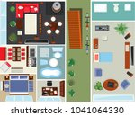 top view apartment interior set ... | Shutterstock . vector #1041064330