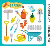 flat design gardening objects   Shutterstock .eps vector #1041065008