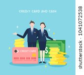 credit card and cash... | Shutterstock .eps vector #1041072538
